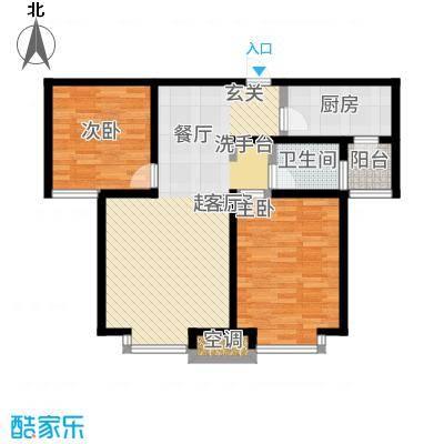 武清五一阳光83.53㎡二期高层标准层B4户型2室2厅