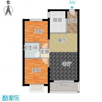 恒大绿洲79.93㎡32号楼2单元标准层C户型2室2厅