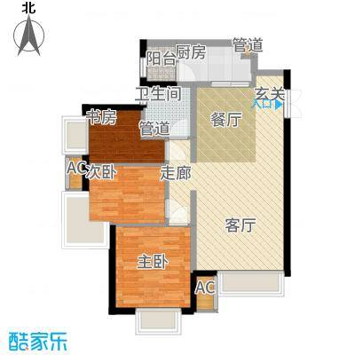 天津津南新城90.02㎡高层12、13号楼02户型3室2厅