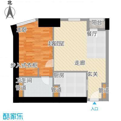 天津雅颂居87.00㎡8-21楼F户型1室2厅