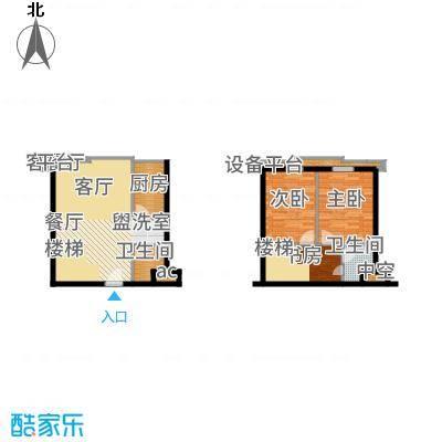 滨海浙商蓝庭国际51.59㎡一期loft标准层户型2室2厅