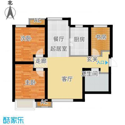 华润橡树湾一期标准层A户型3室2厅