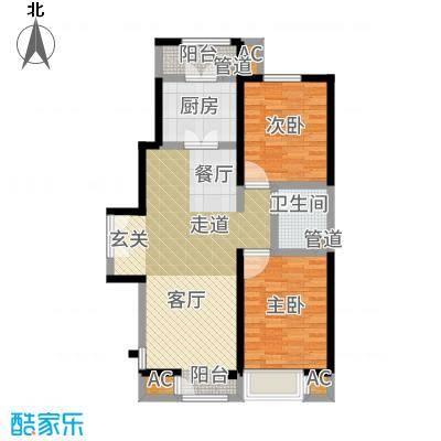 泰达城河与海107.66㎡高层8号楼标准层户型2室2厅