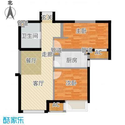 泰达城河与海87.00㎡高层8号楼标准层户型2室1厅
