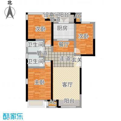 泰达城河与海143.00㎡高层8号楼标准层户型3室2厅