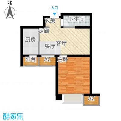 天津雅颂居58.13㎡高层标准层G01户型1室1厅