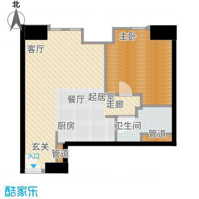 天津雅颂居77.00㎡高层标准层G户型1室2厅