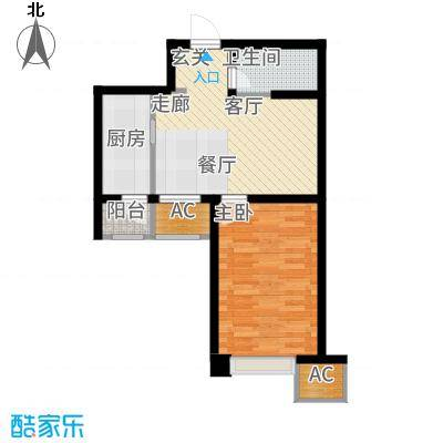天津雅颂居61.05㎡高层标准层H03户型1室1厅