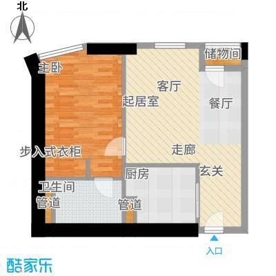 天津雅颂居87.00㎡高层标准层F户型1室2厅