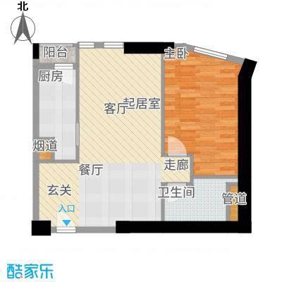 天津雅颂居87.00㎡高层标准层H户型1室2厅