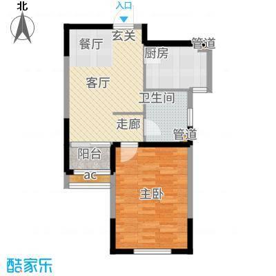 金泰丽湾61.27㎡二期标准层A1户型1室2厅