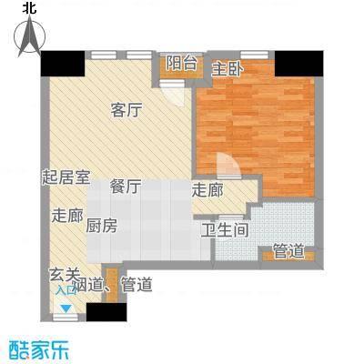 天津雅颂居77.00㎡高层G户型1室2厅