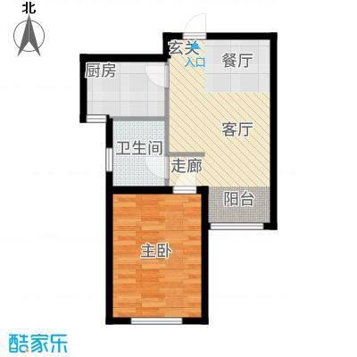 金泰丽湾60.47㎡小高层标准层A户型1室2厅