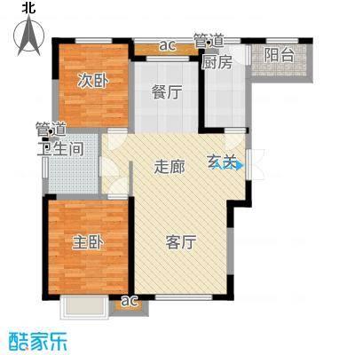 金泰丽湾98.64㎡二期标准层B6户型2室2厅