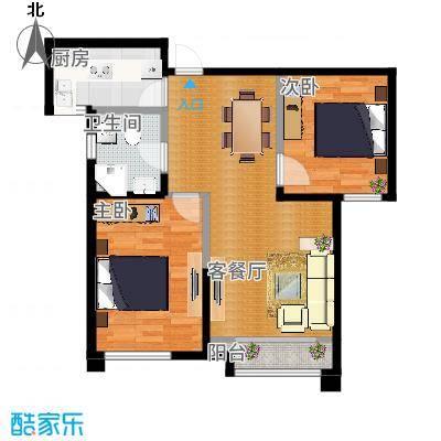 雅仕兰庭89.00㎡二期高层标准层A户型2室2厅