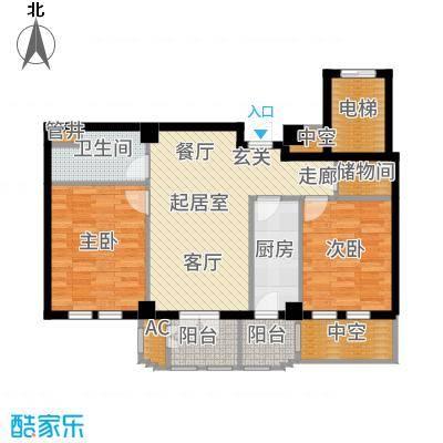 惠灵顿国际社区95.00㎡高层标准层B1户型2室2厅