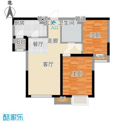 金泰丽湾83.06㎡二期标准层B2户型2室2厅