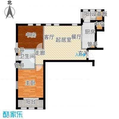 惠灵顿国际社区95.00㎡高层标准层B2户型2室2厅