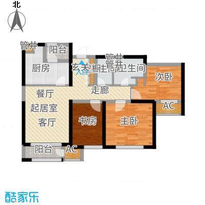 惠灵顿国际社区109.00㎡三期高层B户型3室2厅