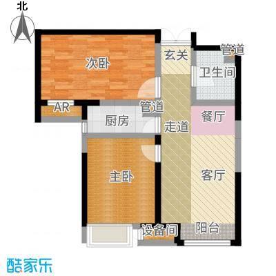 泰达城河与海高层标准层户型2室1厅