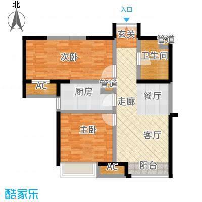 泰达城河与海87.00㎡高层8号楼标准层B2户型2室2厅
