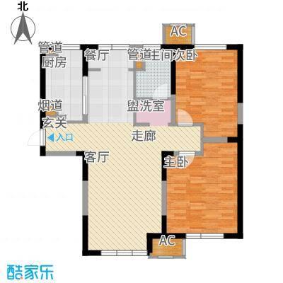 东丽湖万科城小镇里90.00㎡高层标准层B户型2室2厅