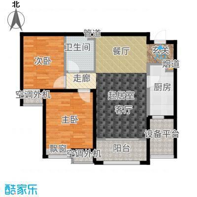 海河大观90.00㎡高层标准层户型2室2厅