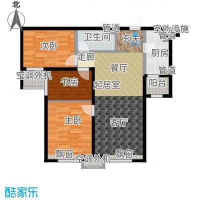海河大观92.00㎡高层标准层户型3室2厅
