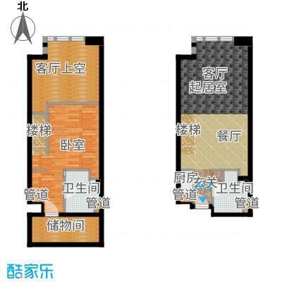 海河大观57.88㎡三期loft公寓标准层G6-01户型1室2厅