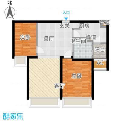 仁恒河滨花园93.00㎡二期高层11号楼1-28层F4户型2室2厅