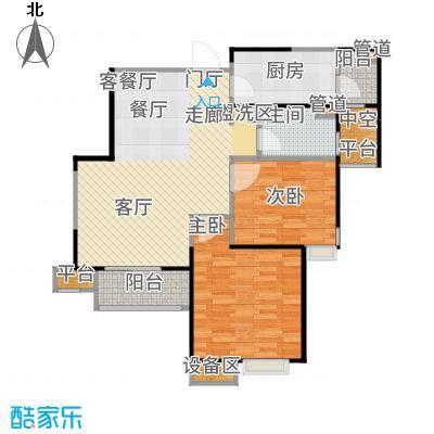 星河荣御78.00㎡二期高层标准层A&apos户型2室2厅
