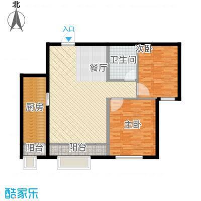 中海八里臺98.00㎡9号楼标准层F户型2室2厅