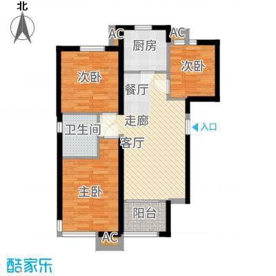 和泓四季恋城88.00㎡一期洋房标准层C1户型3室2厅