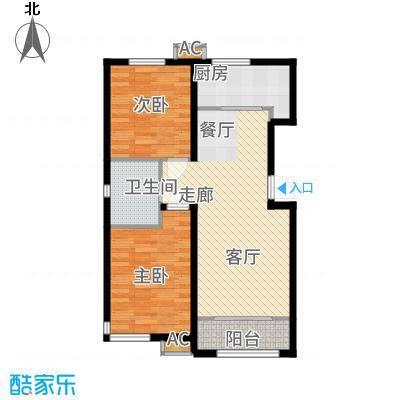 和泓四季恋城84.00㎡一期洋房标准层E1户型2室2厅