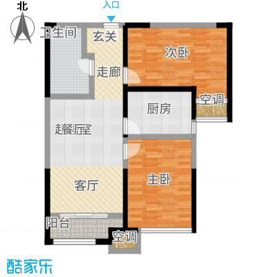 金侨公园壹号83.00㎡高层标准层D'户型2室2厅