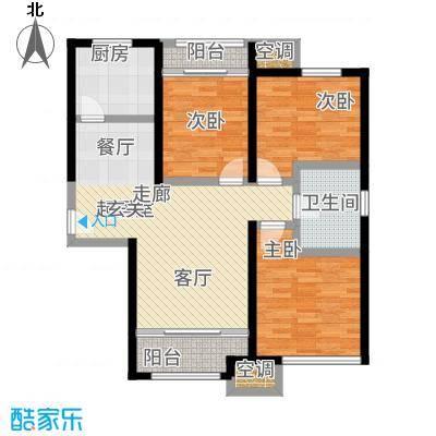金侨公园壹号93.00㎡高层标准层E'户型3室2厅