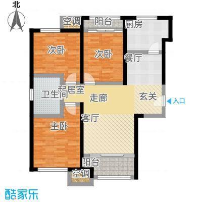 金侨公园壹号94.00㎡高层标准层E户型3室2厅