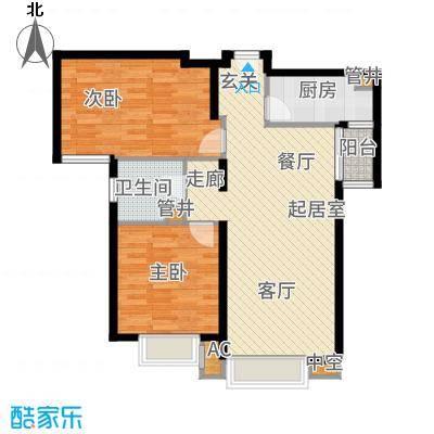 宝能城95.00㎡高层标准层E2户型2室2厅