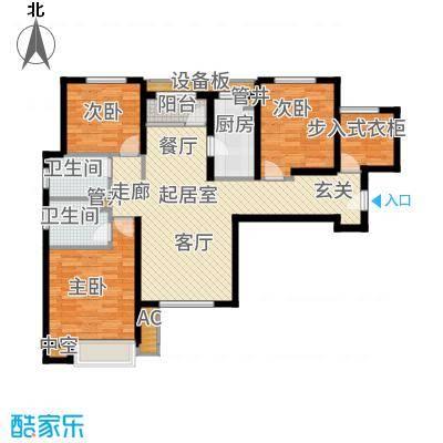 宝能城130.00㎡高层标准层E3户型3室2厅