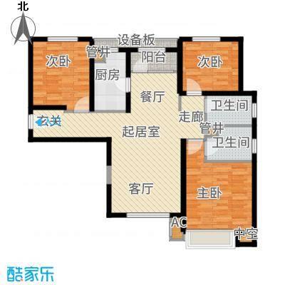 宝能城118.00㎡高层标准层E1户型3室2厅