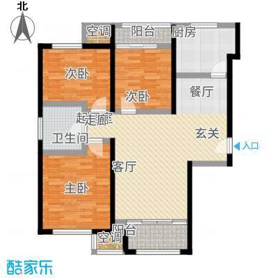 金侨公园壹号93.00㎡高层标准层C户型3室2厅