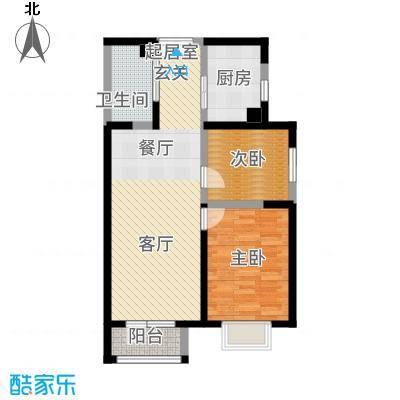 观锦92.18㎡一期高层4号楼标准层2Q户型2室2厅