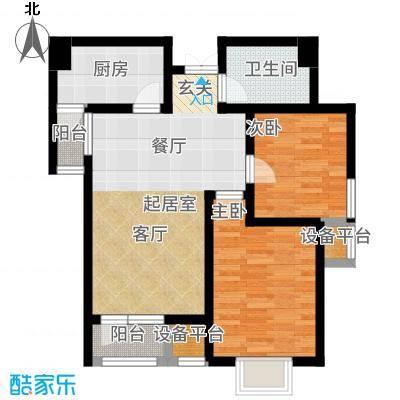观锦87.77㎡一期高层9号楼标准层2G1&apos户型2室2厅