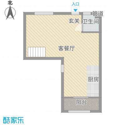 汇金置地广场60.00㎡B3一楼户型2室2厅2卫1厨