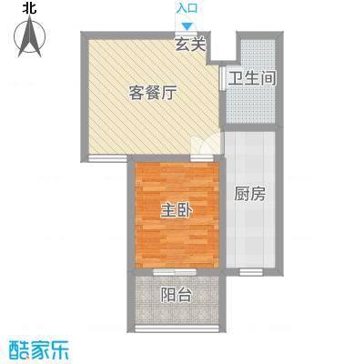 山海嘉园56.06㎡户型1室1厅1卫1厨