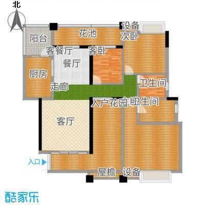 武汉锦绣香江二期145.04㎡武汉锦绣香江棕榈岛B平层户型3室2厅