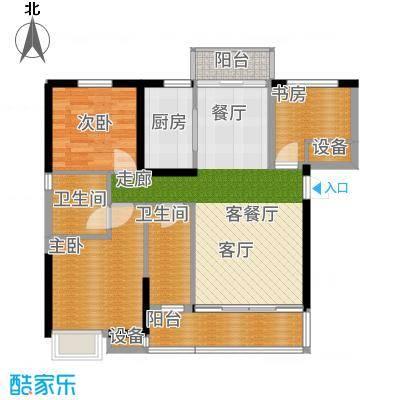 武汉锦绣香江二期105.00㎡武汉锦绣香江E6栋B2户型3室2厅