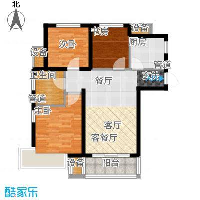 金隅满堂90.00㎡高层标准层户型3室2厅