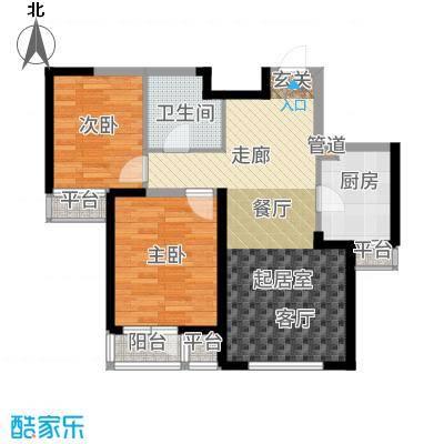 紫熙臺90.00㎡高层标准层3号楼D户型2室2厅
