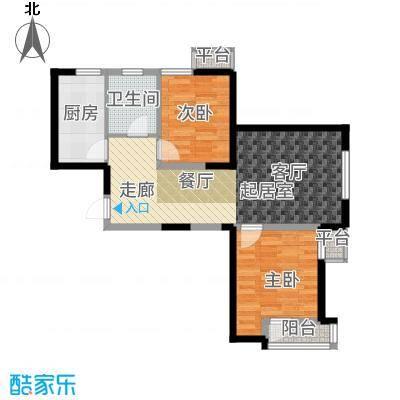 紫熙臺87.00㎡高层标准层3号楼F户型2室2厅